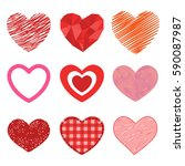 differents style red heart... | Shutterstock .eps vector #590087987