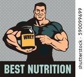 smiling bodybuilder advertises... | Shutterstock .eps vector #590099699