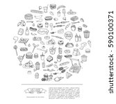 hand drawn doodle fast food...   Shutterstock .eps vector #590100371