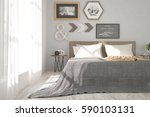 white bedroom. scandinavian... | Shutterstock . vector #590103131