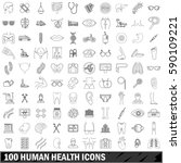 100 human health icons set in... | Shutterstock .eps vector #590109221