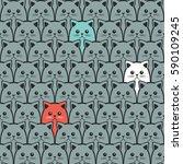 cat seamless pattern. vector... | Shutterstock .eps vector #590109245