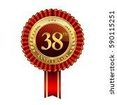 38th anniversary golden badge... | Shutterstock .eps vector #590115251