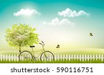 spring nature meadow landscape... | Shutterstock .eps vector #590116751