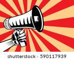 hand reaching out a megaphone... | Shutterstock .eps vector #590117939