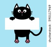 black funny cat hanging on... | Shutterstock .eps vector #590117969