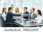 business meeting at the table...   Shutterstock . vector #590121947