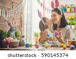 mother and her daughter... | Shutterstock . vector #590145374