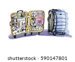 suitcase indoor and outdoor....   Shutterstock . vector #590147801