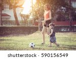 young mother with daughter... | Shutterstock . vector #590156549