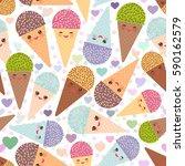 seamless pattern kawaii funny... | Shutterstock . vector #590162579