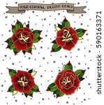 vector traditional tattoo roses ... | Shutterstock .eps vector #590163371