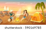 summer tourist camp on beach... | Shutterstock .eps vector #590169785