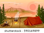 summer tourist camp in forest... | Shutterstock .eps vector #590169899