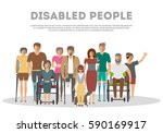 disabled people banner in flat... | Shutterstock .eps vector #590169917