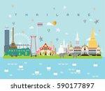 thailand famous landmarks... | Shutterstock .eps vector #590177897