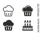 cake vector icons set. black... | Shutterstock .eps vector #590181755