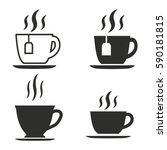 tea vector icons set. black... | Shutterstock .eps vector #590181815