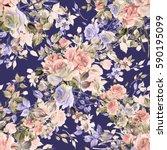 seamless watercolor pattern... | Shutterstock . vector #590195099