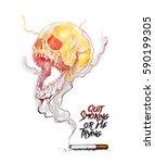 burning cigarette as a skull... | Shutterstock .eps vector #590199305