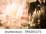 double exposure businessman and ... | Shutterstock . vector #590201171