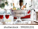 Silver Ice Bucket With Wine An...