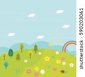 vector illustration of spring... | Shutterstock .eps vector #590203061