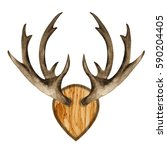watercolor antlers on wooden... | Shutterstock . vector #590204405