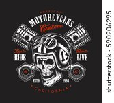 vintage motorcycle print with... | Shutterstock .eps vector #590206295
