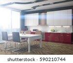 kitchen interior. 3d... | Shutterstock . vector #590210744