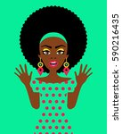 wow woman. sexy surprised afro... | Shutterstock .eps vector #590216435