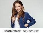 beauty portrait of smiling... | Shutterstock . vector #590224349
