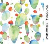 watercolor seamless opuntia...   Shutterstock . vector #590230931