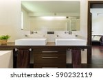 master bathroom with two sinks  ... | Shutterstock . vector #590232119