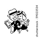couple with money   retro clip... | Shutterstock .eps vector #59023534