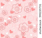 cute floral background with a... | Shutterstock .eps vector #590235731