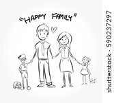 happy young family in casual... | Shutterstock .eps vector #590237297