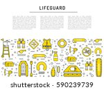 vector line icons of rescue... | Shutterstock .eps vector #590239739