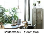 white  industrial dining room... | Shutterstock . vector #590245031