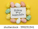 seasonal easter message with... | Shutterstock . vector #590251541