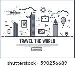 travel the world illustration... | Shutterstock .eps vector #590256689