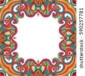 vector colorful floral frame...   Shutterstock .eps vector #590257781