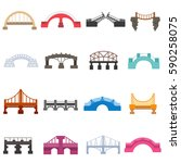 bridges icons set. urban and... | Shutterstock .eps vector #590258075