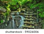 nice path through slovak paradise - stock photo