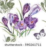 Hand Painting 7 Crocuses...