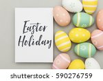 seasonal easter message with... | Shutterstock . vector #590276759