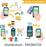mobile payment set isolated... | Shutterstock .eps vector #590280734