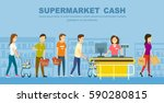 supermarket store counter desk... | Shutterstock .eps vector #590280815