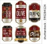 olive oil retro vintage gold... | Shutterstock .eps vector #590284124
