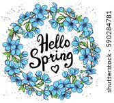 hello spring greeting card.... | Shutterstock .eps vector #590284781